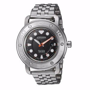 Citizen Eco-Drive 46mm Black Dial Silver Watch